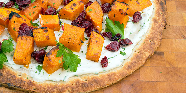 Butternut Squash, Ricotta, Cranberry, and Herb Pizza Recipe Image