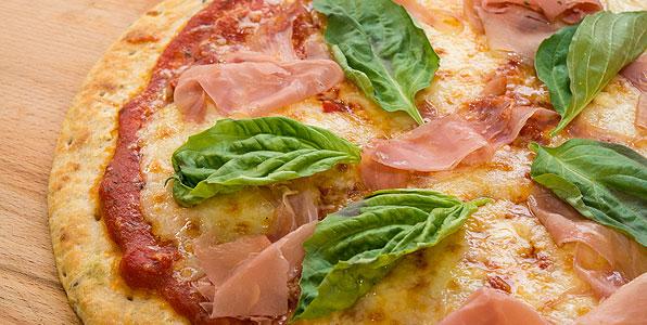 Classic Pizza Margherita With Sliced Prosciutto Recipe Image