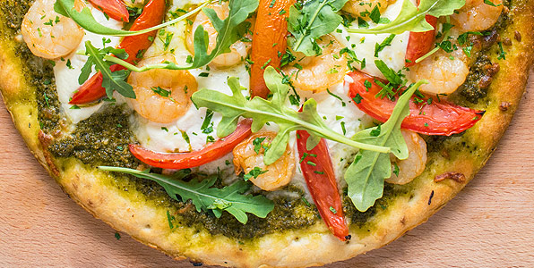 Summer Pesto and Grilled Shrimp Pizza Recipe Image